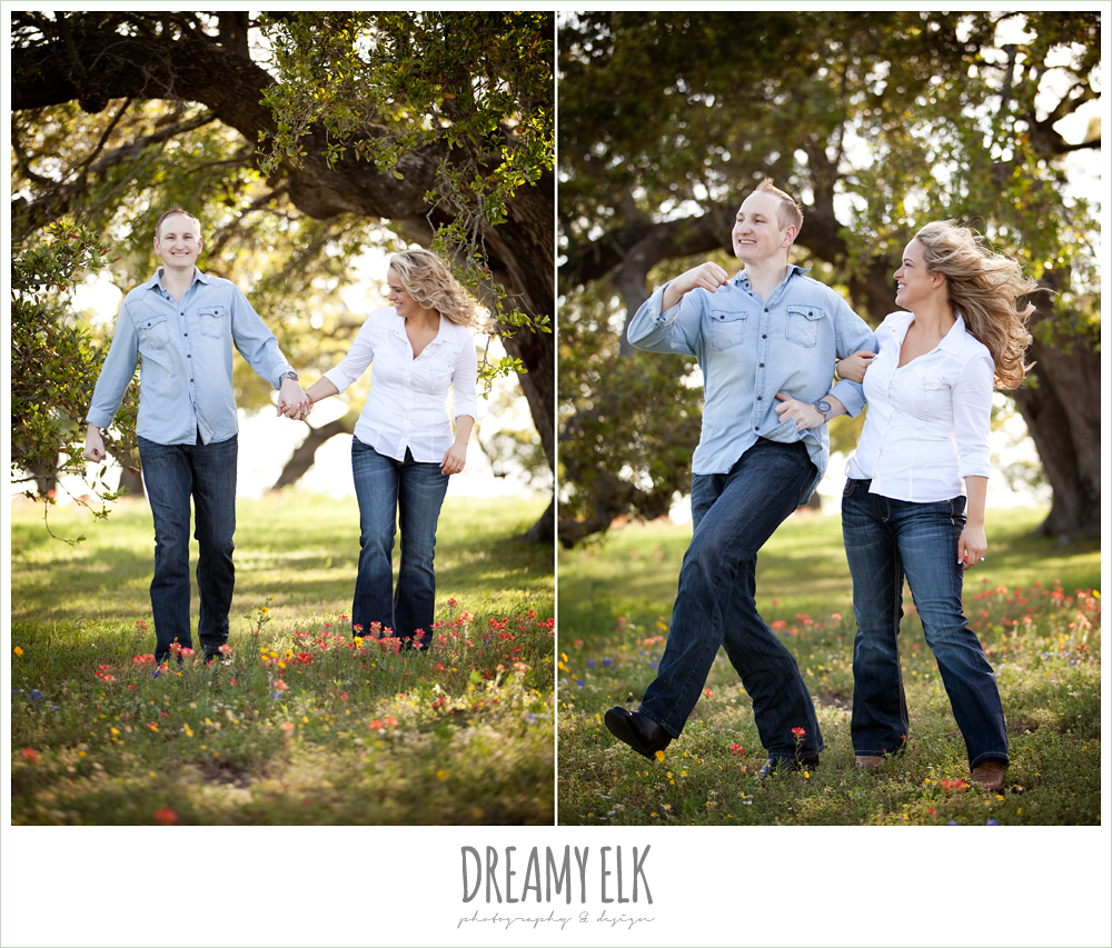 heather and clint, rustic funny engagement photo, college station, texas