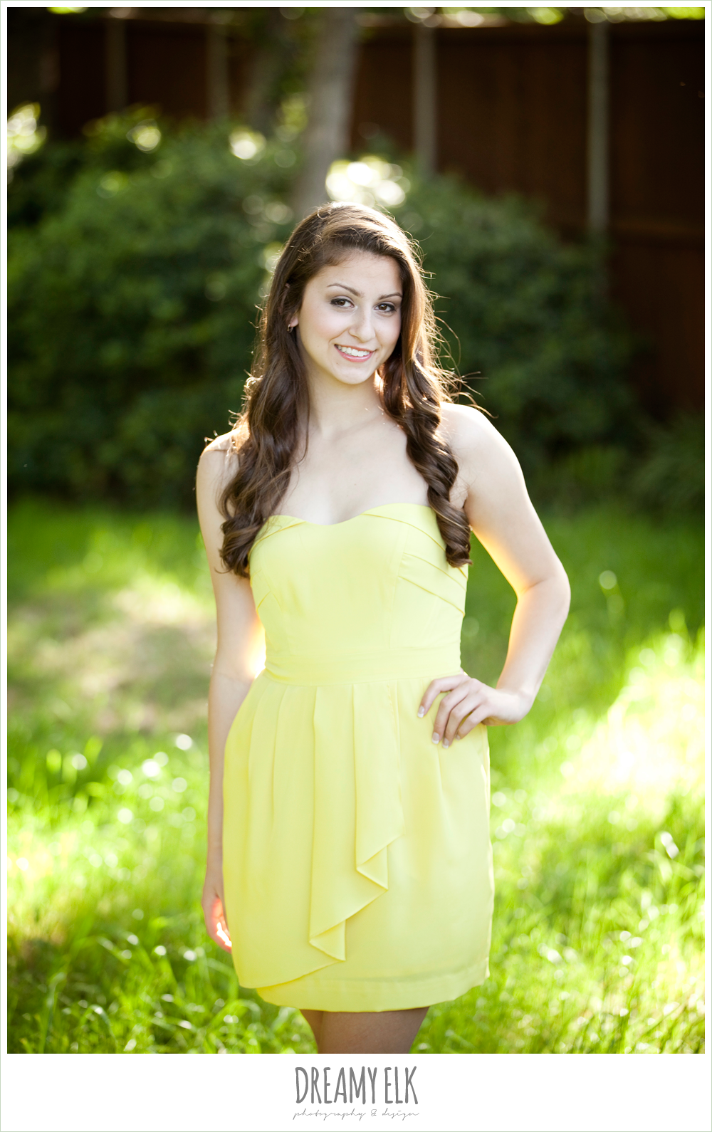 evan high school senior yellow dress