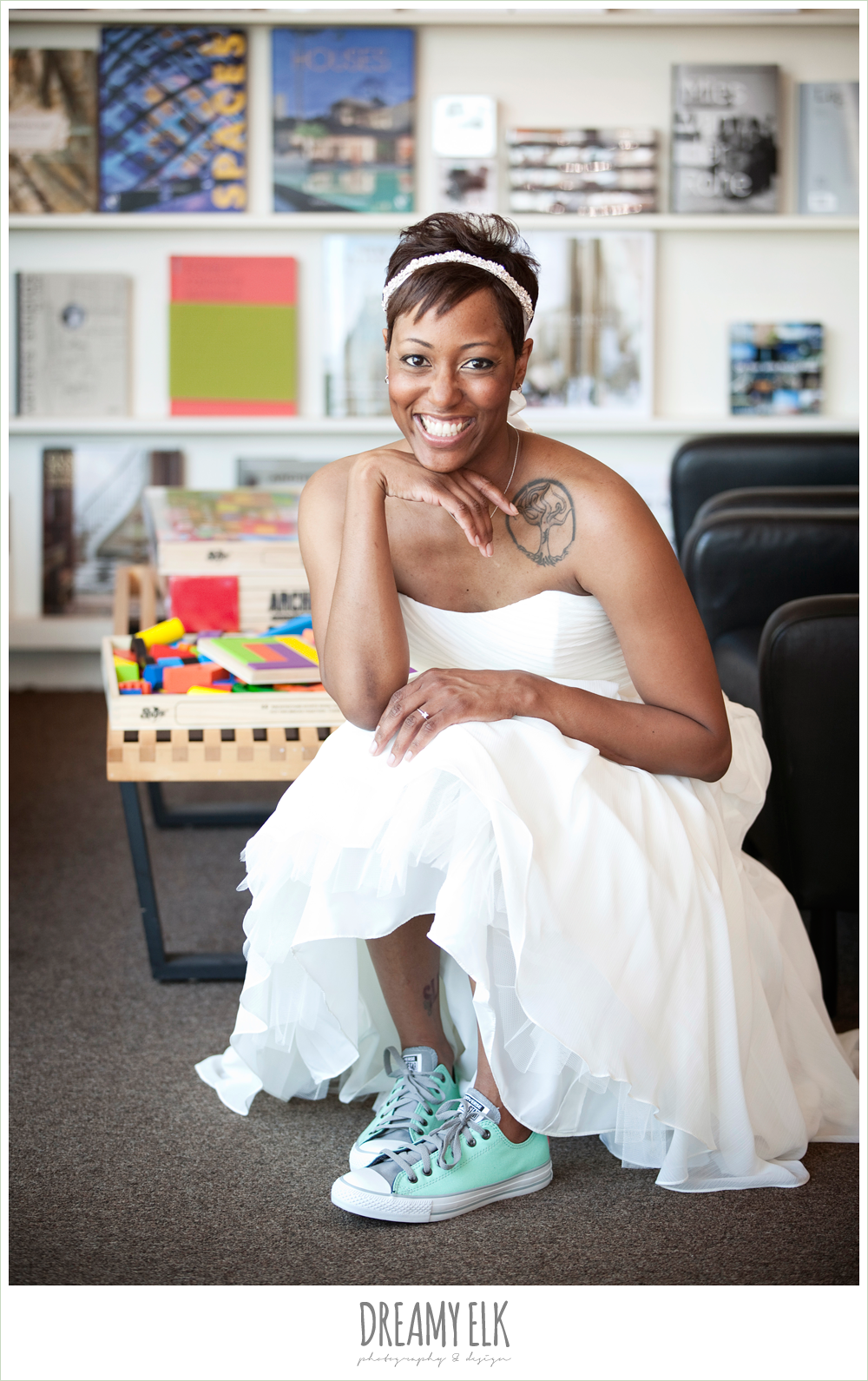 6 bre'onna, brazos bookstore bridals, bride with tattoos, custom converse