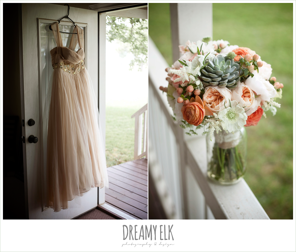 succulent bouquet, unique wedding dress hanging on door