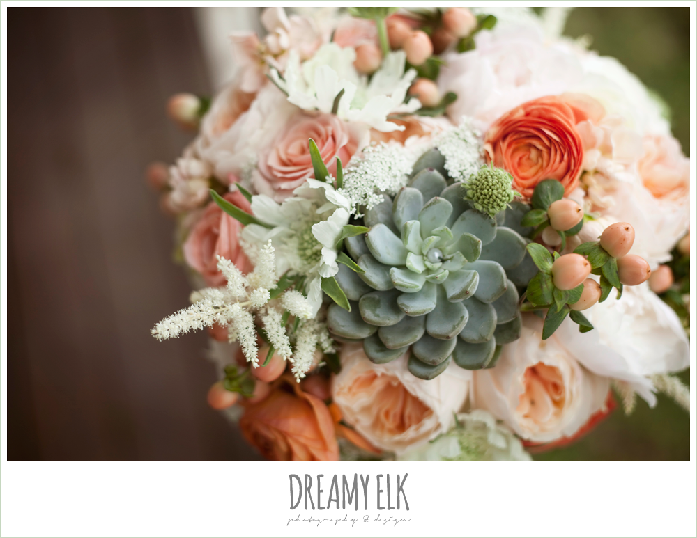 peach, pink, white, succulent wedding bouquet