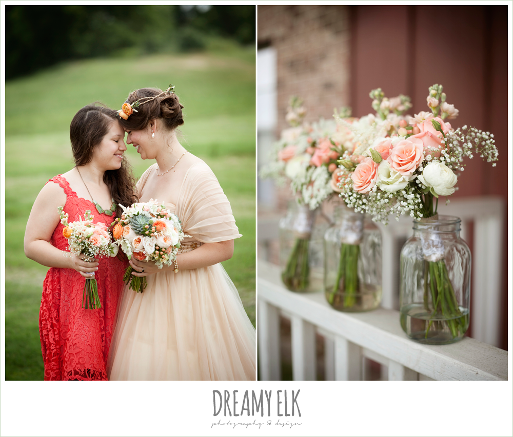 coral bridesmaids dress, pink and peach bouquets, champagne wedding dress
