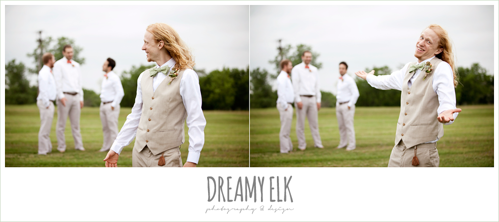 funny groomsmen photo, groom in linen vest and green bow tie