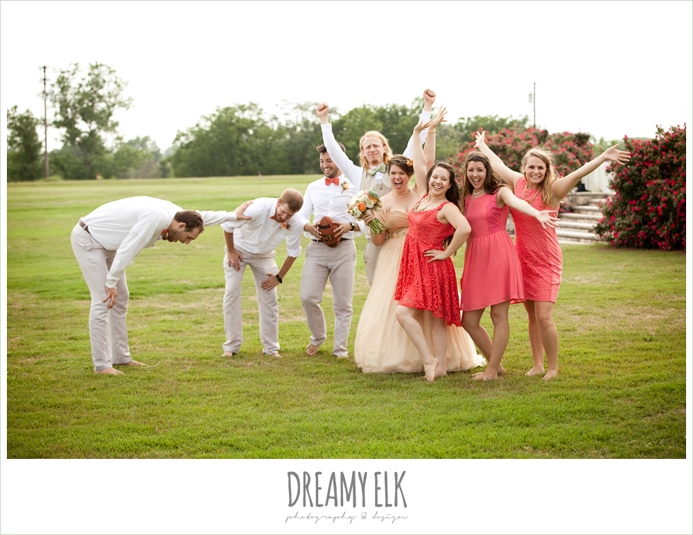 bridal party playing football