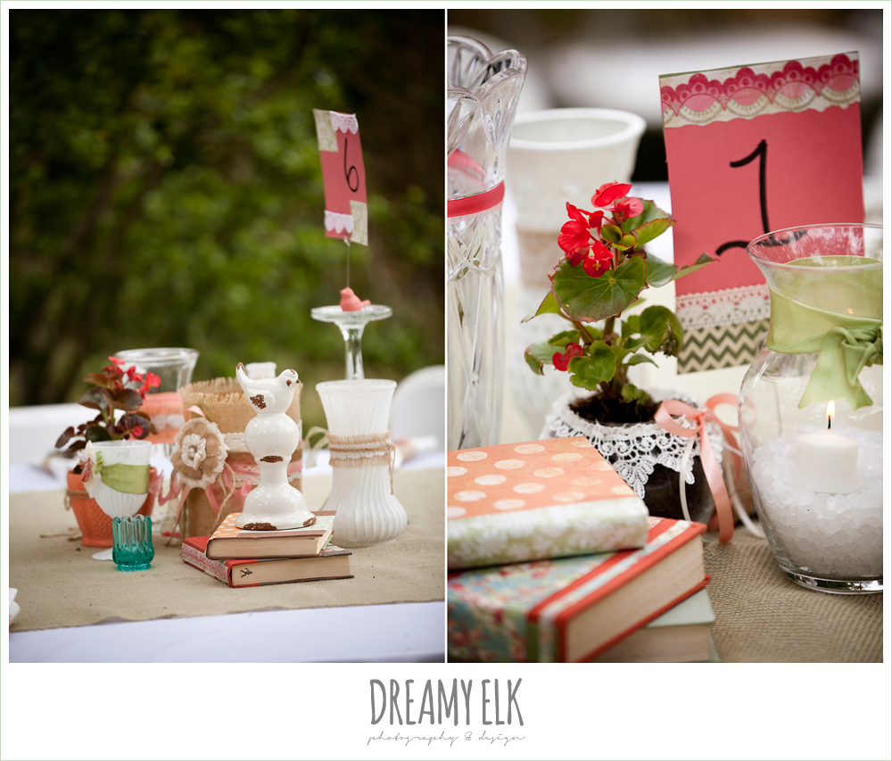 shabby chic wedding, centerpieces