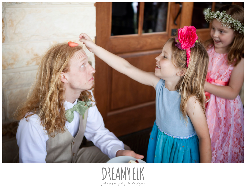 funny groom with little girls