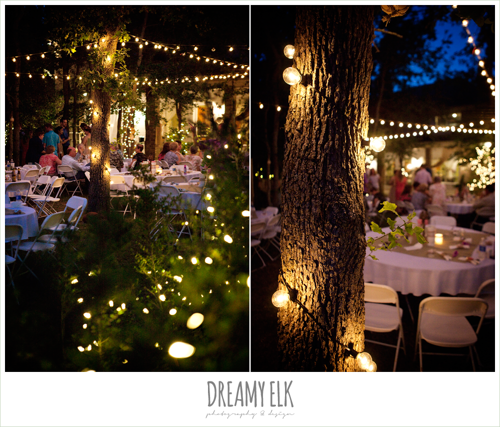 backyard wedding reception with christmas lights