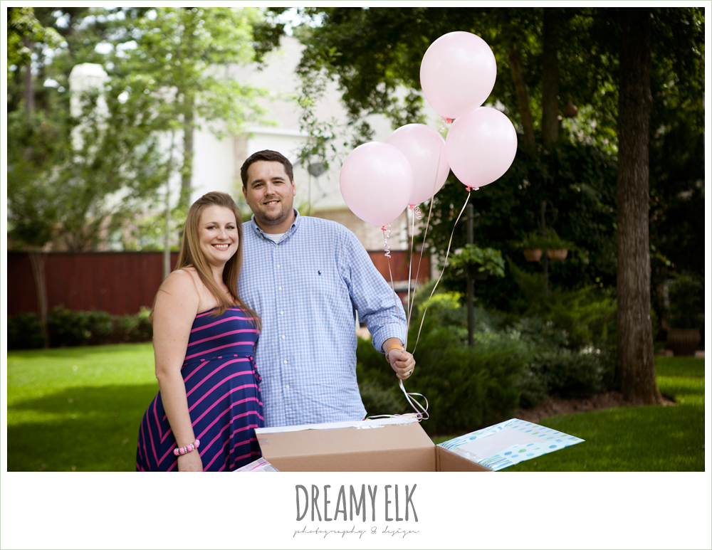 gender reveal party with balloons