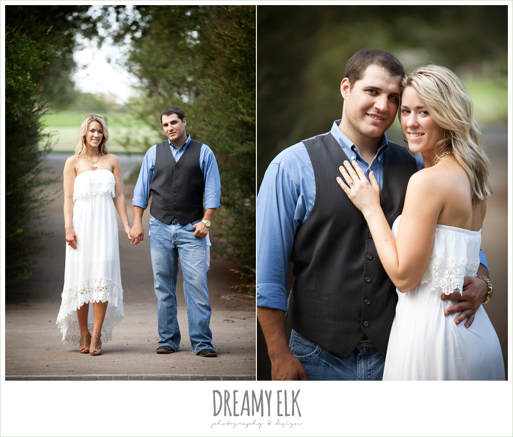 outdoor engagement photo, vest and jeans, white dress