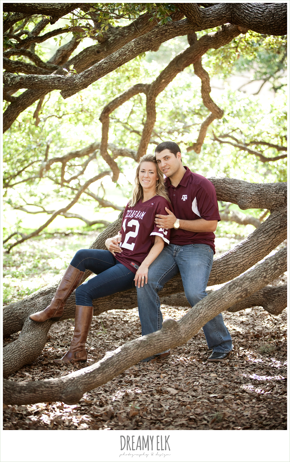 century tree engagement photo, texas a&m university