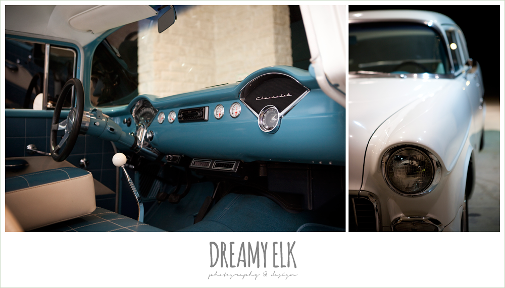 classic chevrolet, blue and white, wedding getaway car