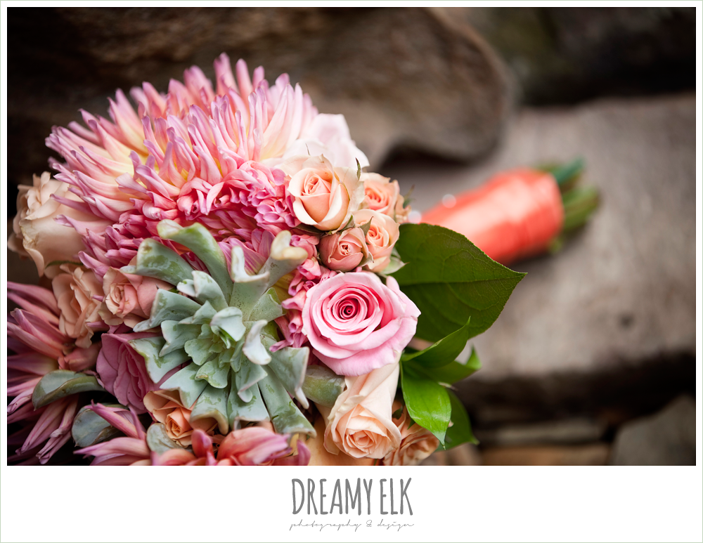 pink and orange bouquet, northwest forest conference center, dreamy elk photography and design