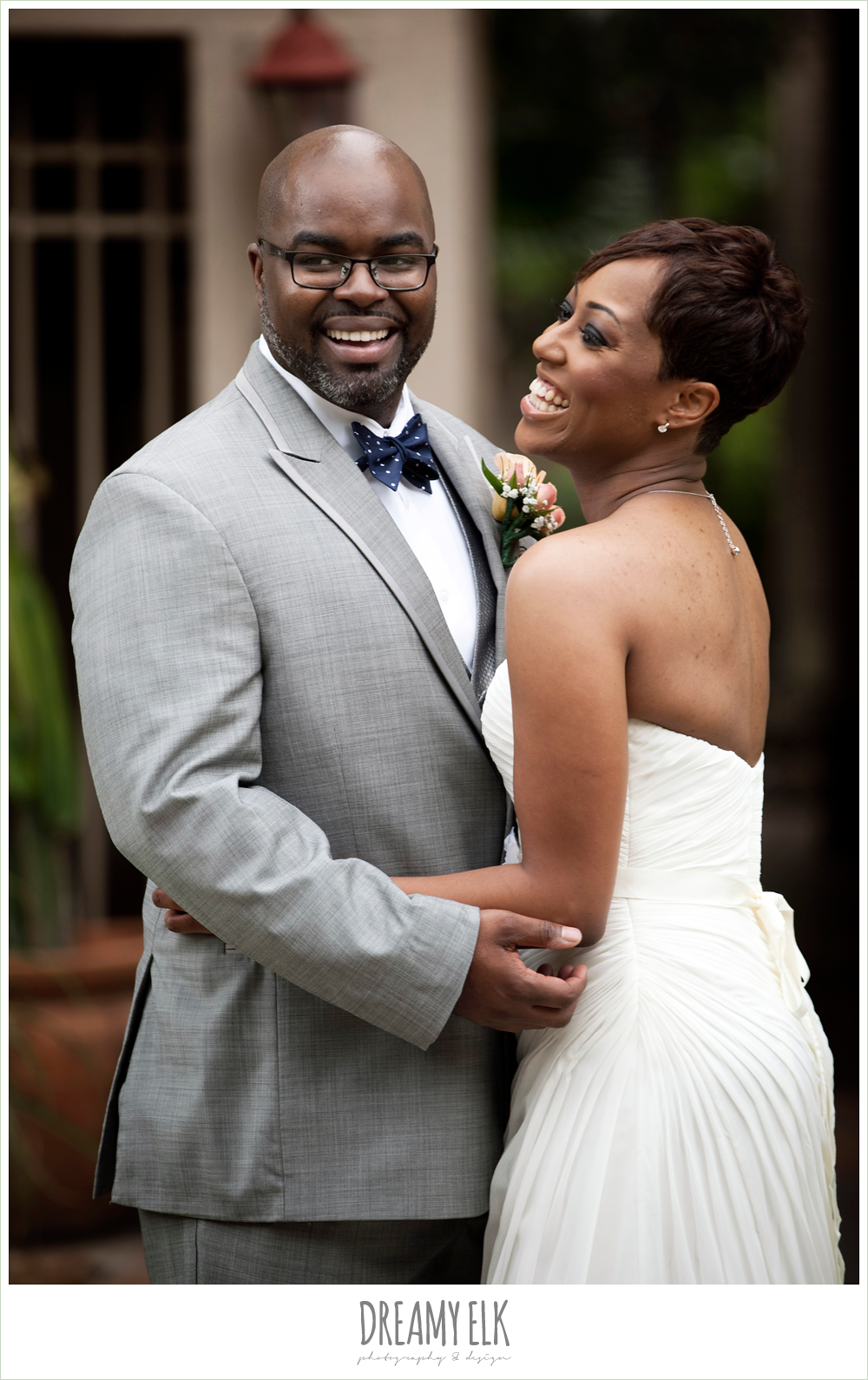 gray suit, navy bow tie, strapless wedding dress, northwest forest conference center, dreamy elk photography and design