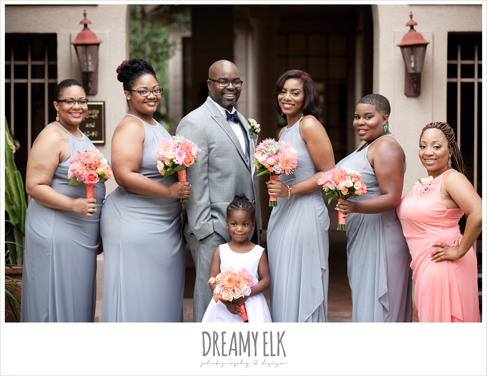 groom with bridesmaids, gray and pink, northwest forest conference center, dreamy elk photography and design