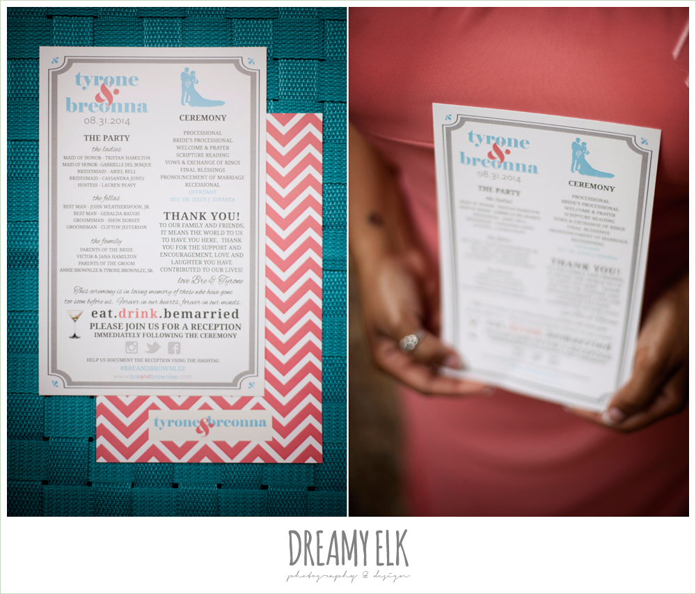 coral and blue chevron wedding program, northwest forest conference center, dreamy elk photography and design