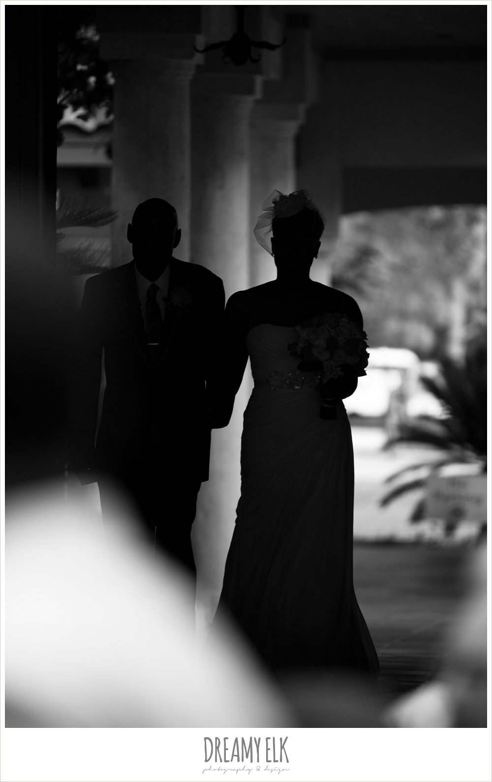 silhouette of bride and dad walking down the aisle, northwest forest conference center, dreamy elk photography and design