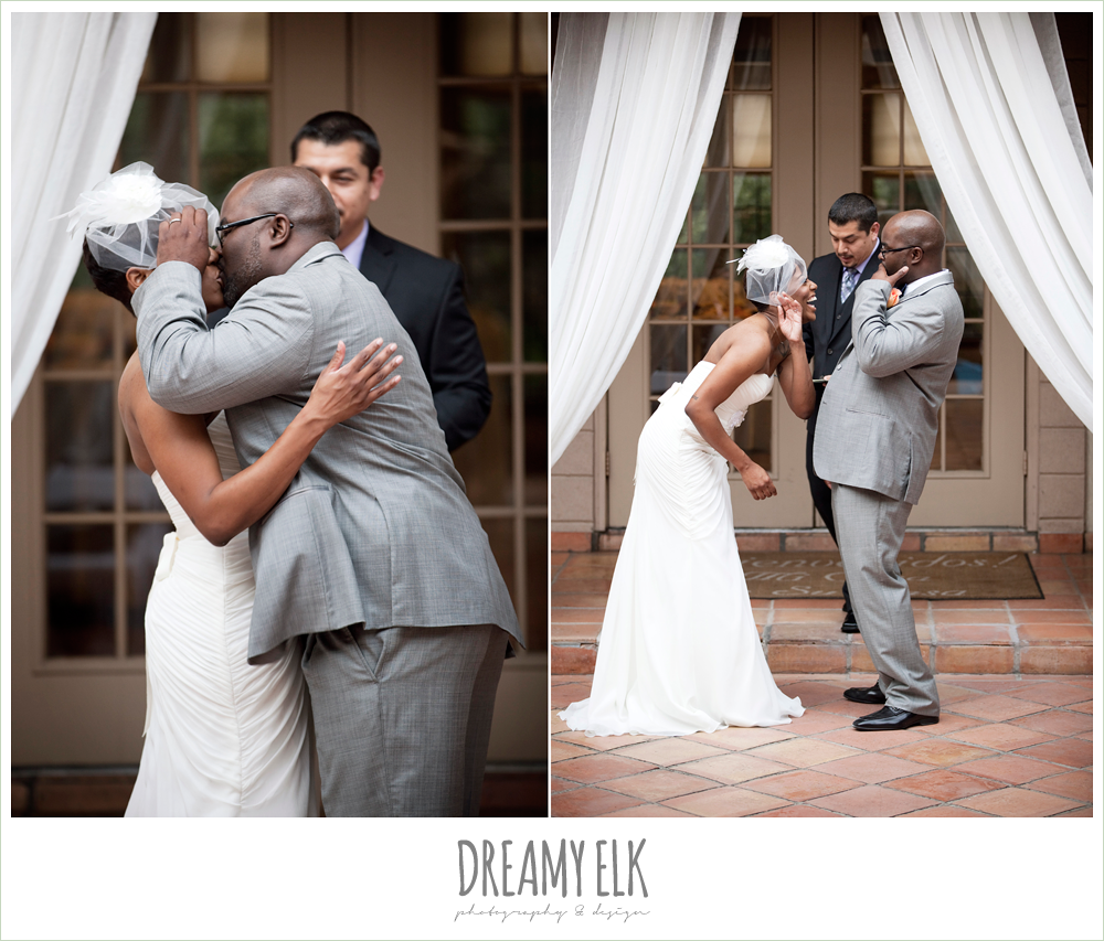 bride and groom kiss during ceremony, northwest forest conference center, dreamy elk photography and design
