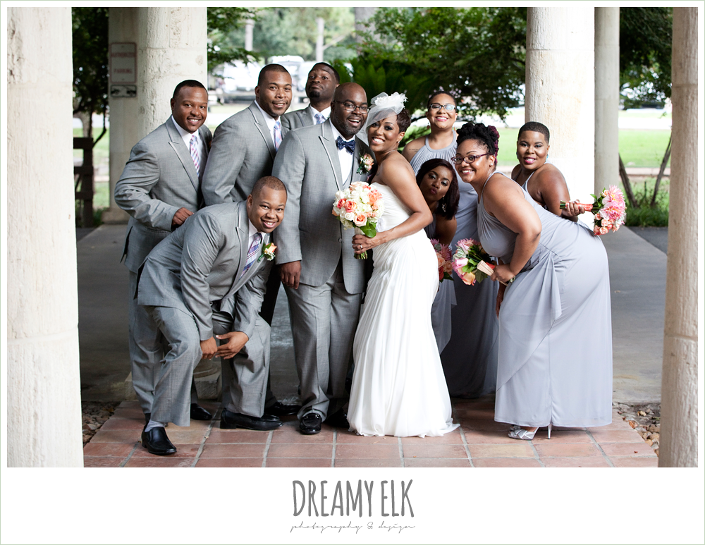 fun bridal party photo, gray and pink, northwest forest conference center, dreamy elk photography and design