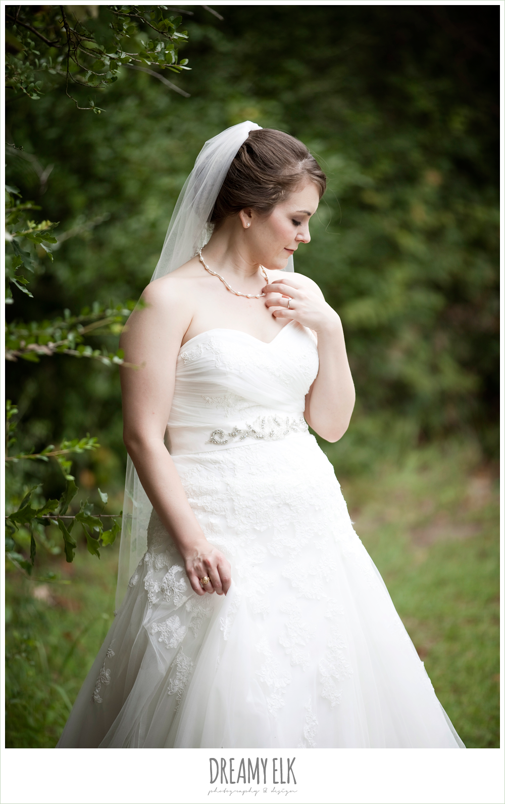 sweetheart strapless lace wedding dress, beaded veil & belt