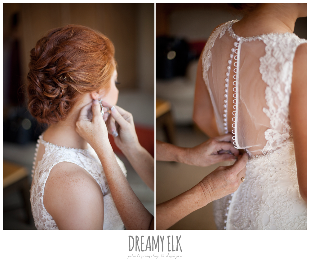 high-necked lace wedding dress with buttons, wedding hair updo, dreamy elk photography and design