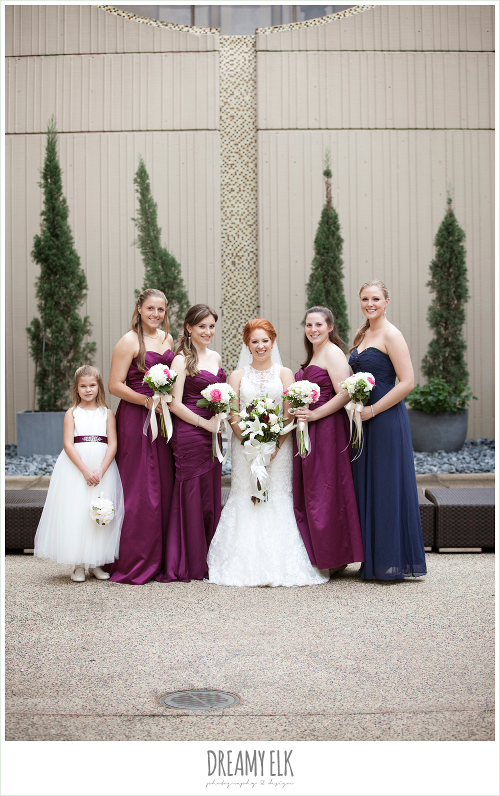 hilton hotel, university of houston, bride and bridesmaids, sangria strapless bridesmaids dresses, high-necked lace wedding dress, dreamy elk photography and design