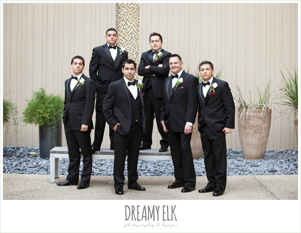 hilton hotel, university of houston, groom and groomsmen, classic tuxedo, dreamy elk photography and design