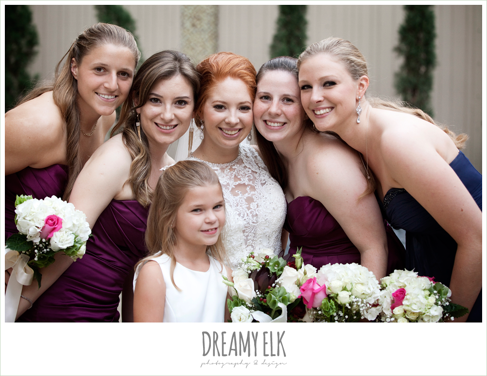 bride and bridesmaids, hilton hotel, university of houston, fall wedding bouquet, sangria strapless bridesmaids dresses, high-necked lace wedding dress, dreamy elk photography and design