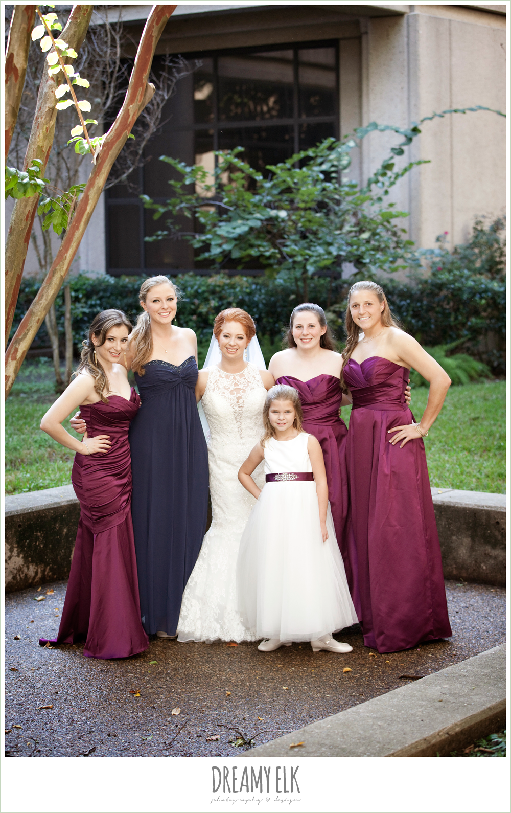 hilton hotel, university of houston, sangria strapless bridesmaids dresses, high-necked lace wedding dress, dreamy elk photography and design