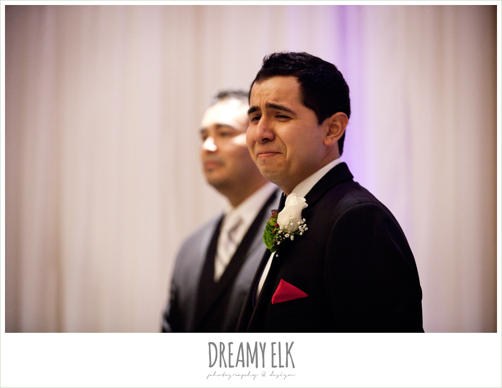 groom's reaction to grandmother walking down the aisle, wedding ceremony, dreamy elk photography and design