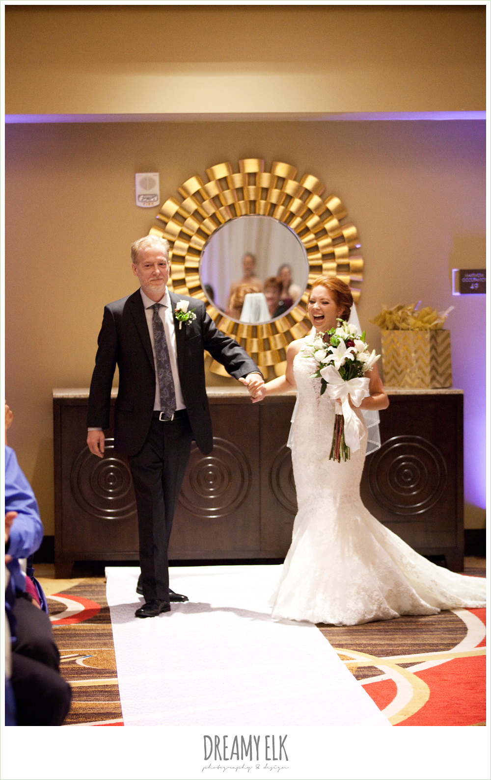 hilton hotel ballroom, university of houston, bride walking down the aisle, wedding ceremony, dreamy elk photography and design