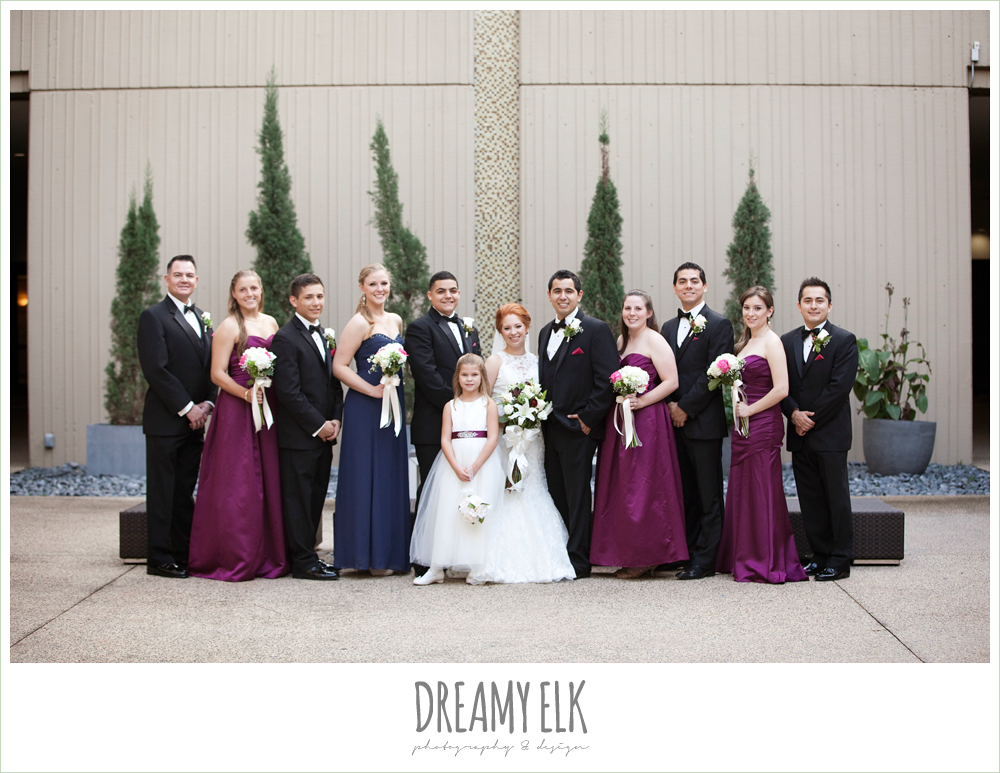 sangria strapless bridesmaids dresses, hilton hotel, university of houston, high-necked lace wedding dress, classic tuxedo, dreamy elk photography and design
