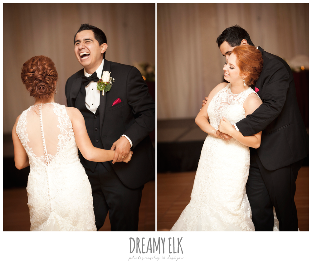 bride and groom first dance, hilton hotel ballroom, high-necked lace wedding dress, classic tuxedo, dreamy elk photography and design