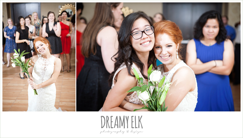 bouquet toss, hilton hotel ballroom, university of houston, dreamy elk photography and design