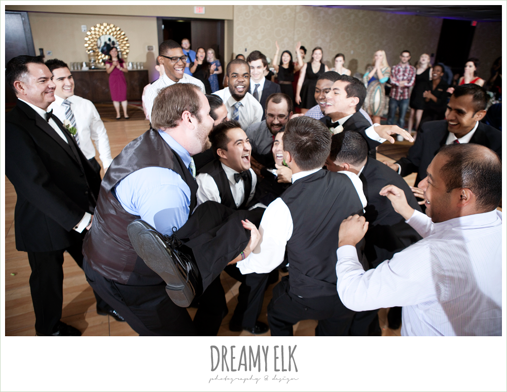 throwing the groom, hilton hotel ballroom, university of houston, dreamy elk photography and design
