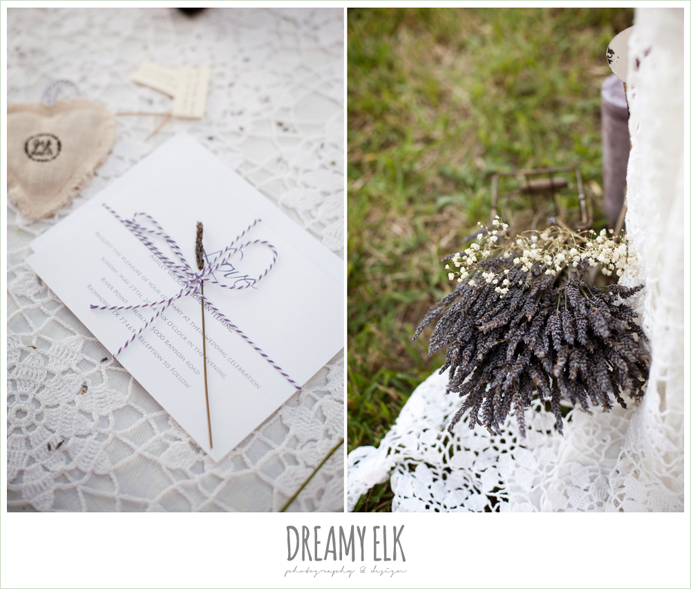 lavender wedding invitation, rustic chic post wedding shoot, dreamy elk photography and design