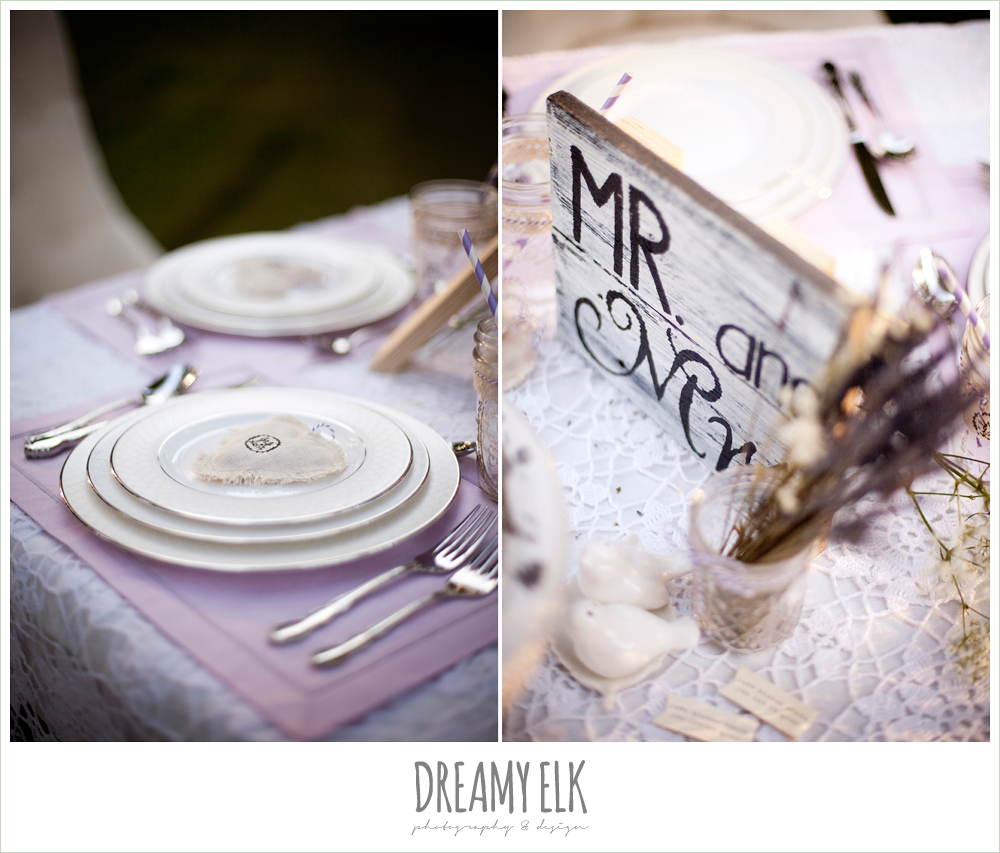 sweetheart table, lavender, lace, rustic chic post wedding shoot, dreamy elk photography and design