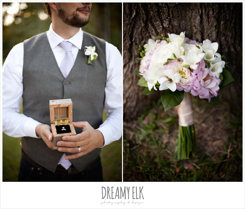 groom in vest and jeans, lavender and white wedding bouquet, rustic chic post wedding shoot, dreamy elk photography and design