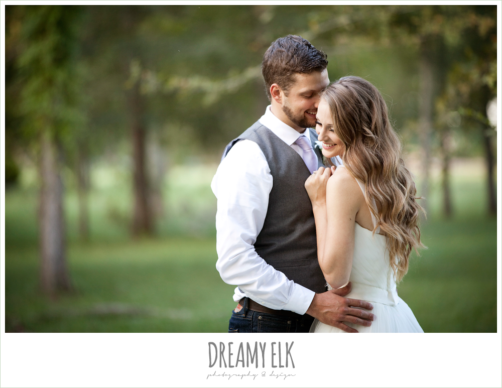 wedding hair down, spaghetti strap tulle wedding dress, groom in vest and jeans, rustic chic post wedding shoot, dreamy elk photography and design