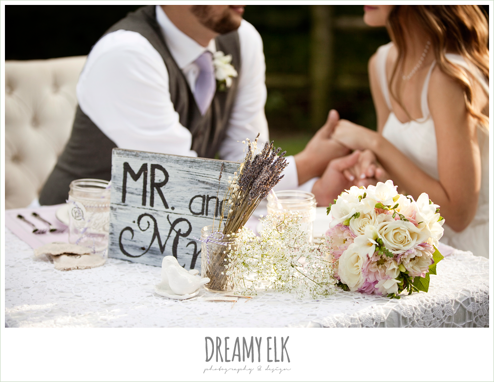 sweetheart table, lavender, lace, burlap, signage, rustic chic post wedding shoot, dreamy elk photography and design