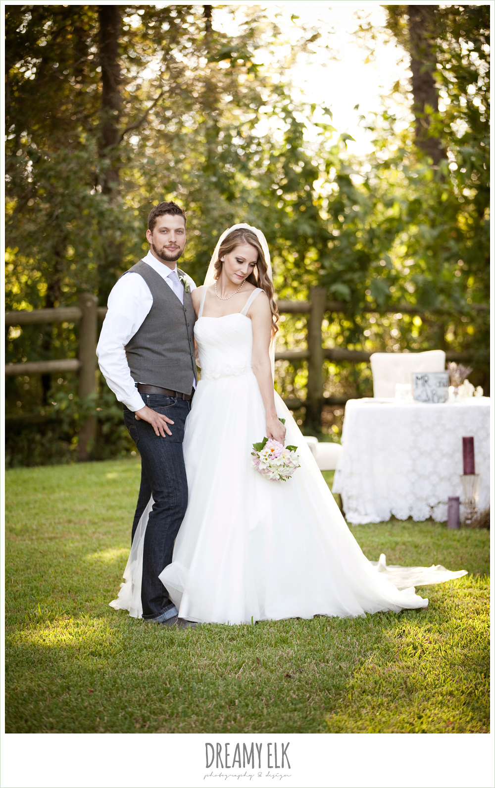 spaghetti strap tulle wedding dress, groom in vest and jeans, rustic chic post wedding shoot, dreamy elk photography and design