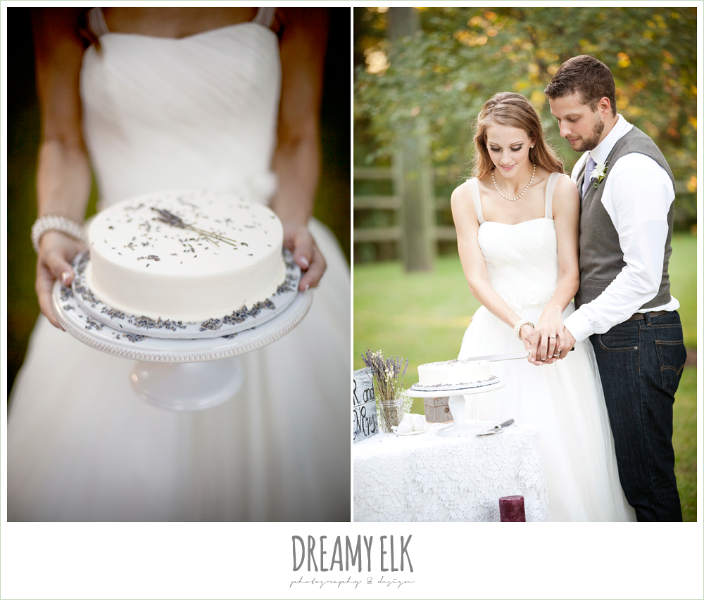 cutting the cake, spaghetti strap tulle wedding dress, groom in vest and jeans, rustic chic post wedding shoot, dreamy elk photography and design