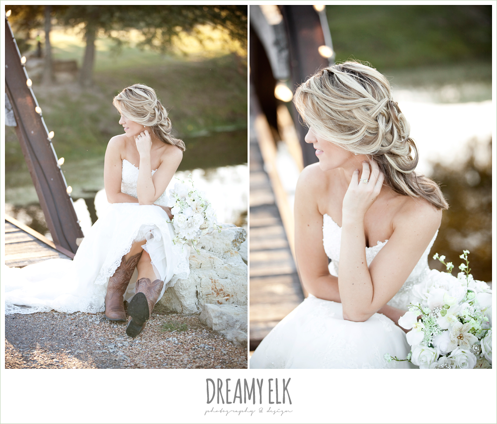 lauren, rock lake ranch, rustic fall bridal photos with cowboy boots, unique wedding hair, dreamy elk photography and design