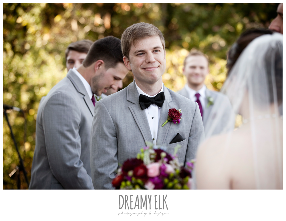 groom smiling during ceremony, october wedding, inn at quarry ridge, dreamy elk photography and design