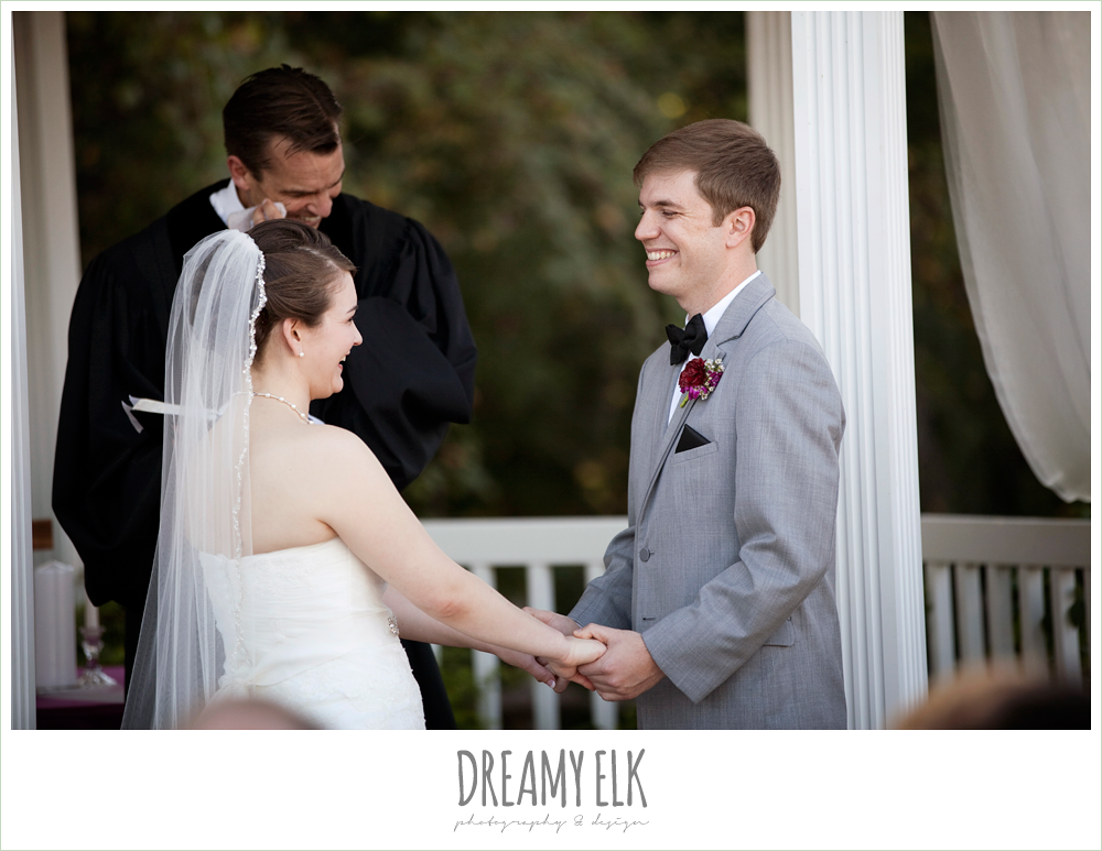 bride and groom laughing during ceremony, october wedding, inn at quarry ridge, dreamy elk photography and design