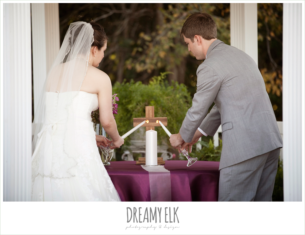 bride and groom lighting the unity candle, october wedding, inn at quarry ridge, dreamy elk photography and design