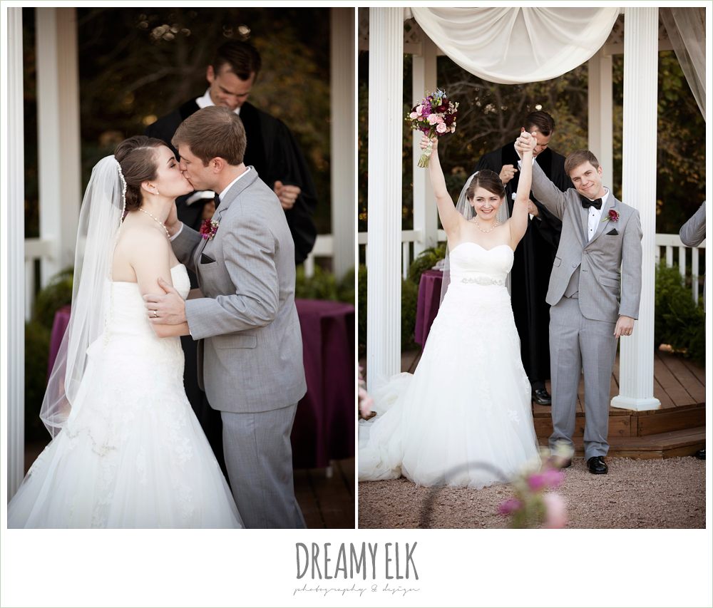 bride and groom kissing during ceremony, october wedding, inn at quarry ridge, dreamy elk photography and design