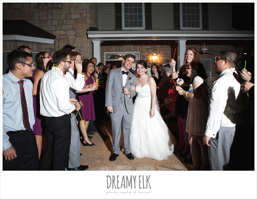 send off with glow sticks, october wedding, inn at quarry ridge, dreamy elk photography and design