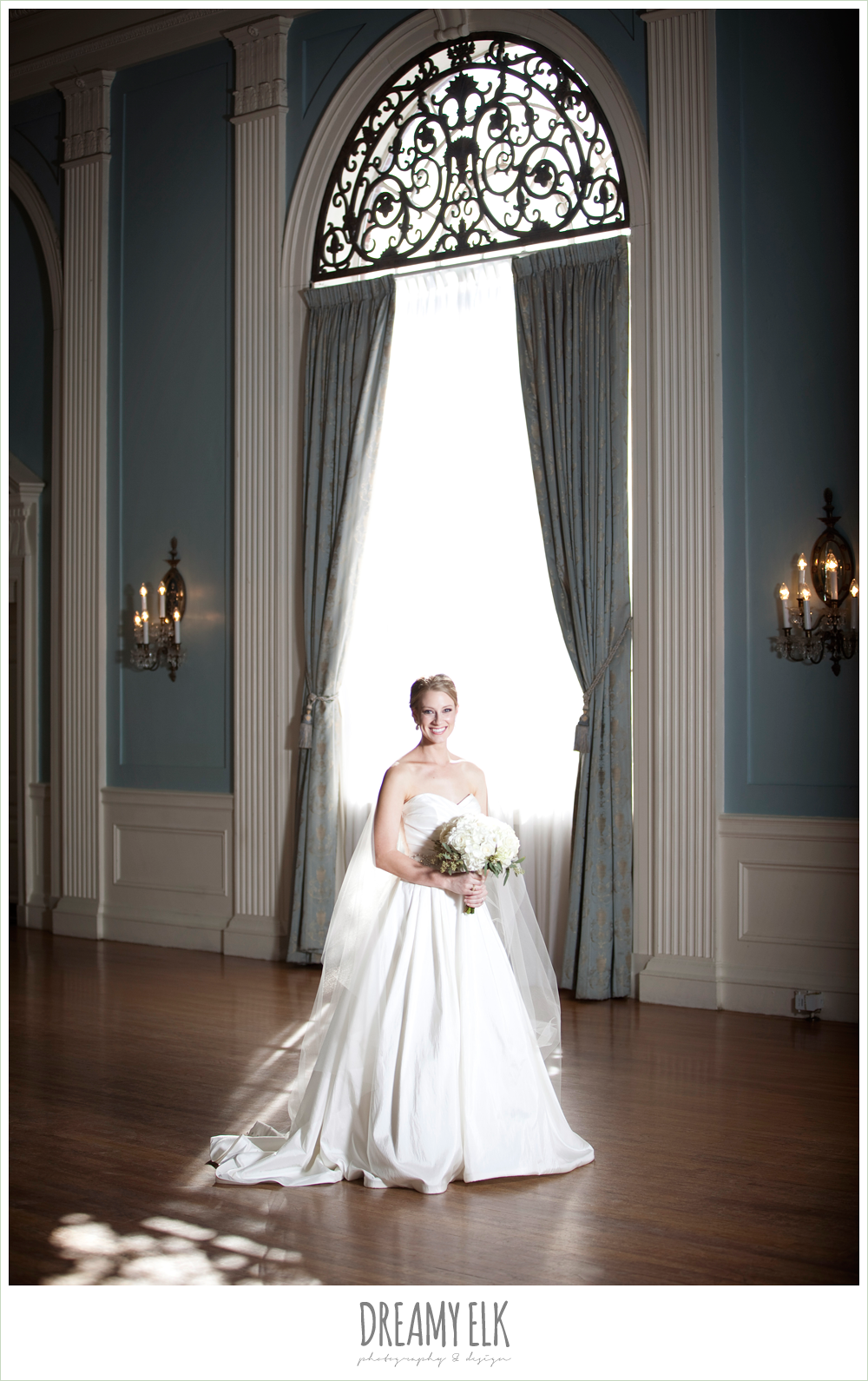 bride standing in window, cathedral length veil, indoor bridal photo, dreamy elk photography and design