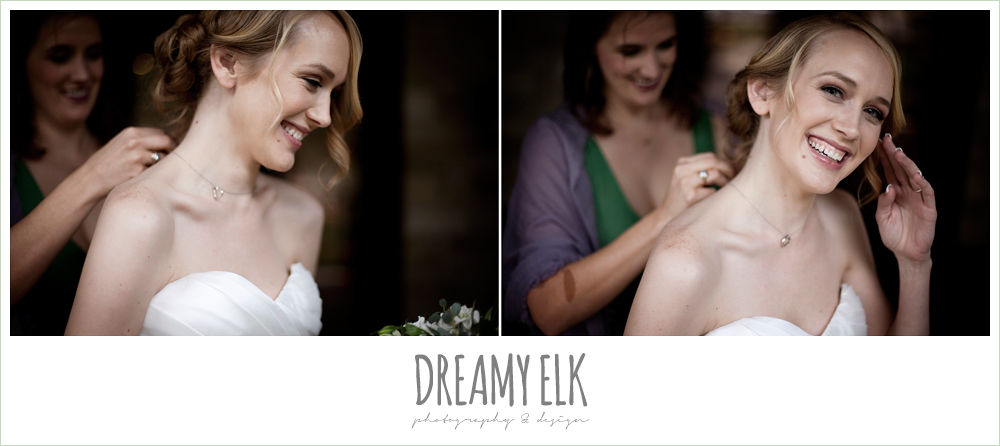 bride getting dressed, winter vineyard wedding, dreamy elk photography and design