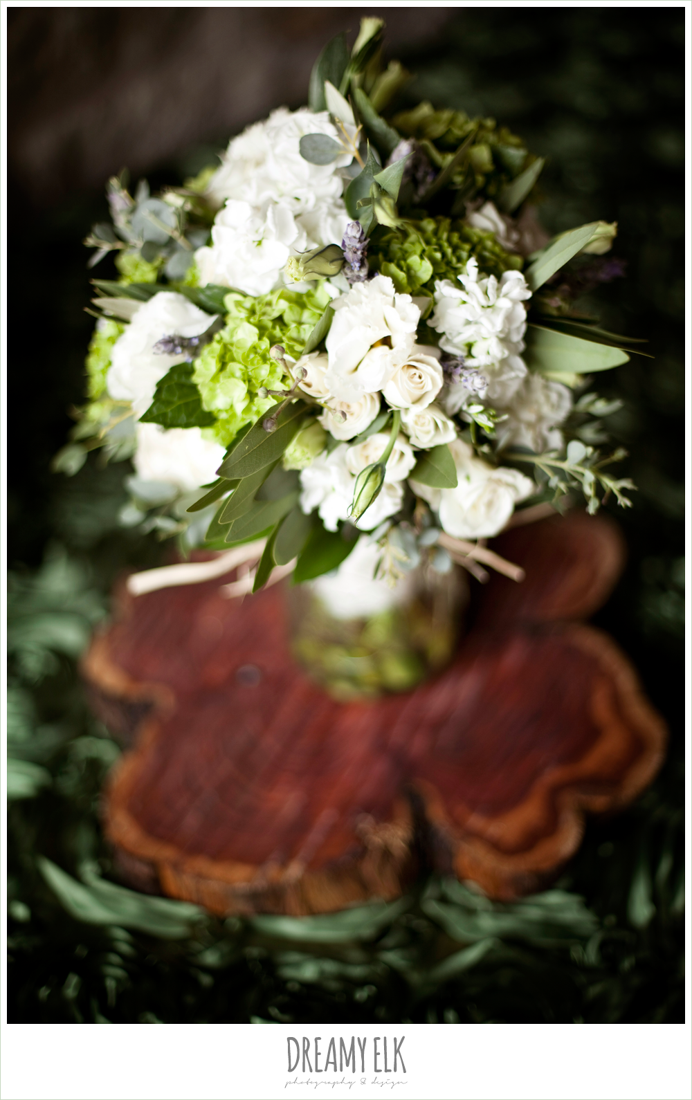 white, green, and purple wedding bouquet, winter vineyard wedding, dreamy elk photography and design